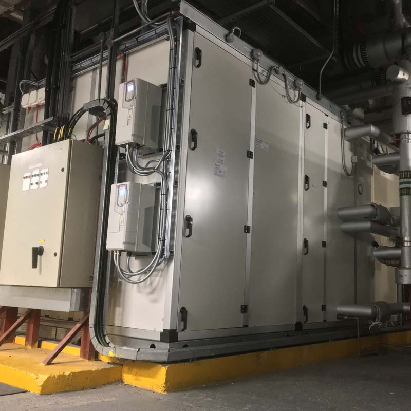 Completed air handling unit